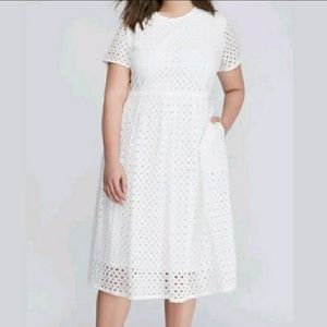 NWT Lane Bryant White Eyelet Dress with Pockets